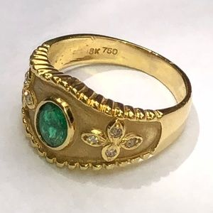 Jewelry - Etruscan Revival Design 18K Y/G Emerald & Diamonds